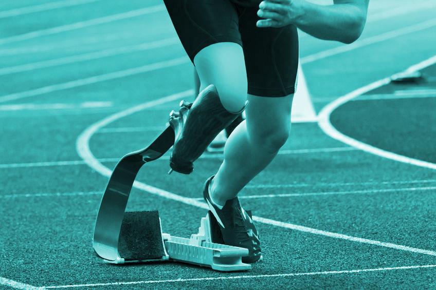 Fotoband, sprintatleet met prothese